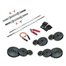 22 Kg Weight Rubber + 2 Pc Dumbbell Rods + 2 Pc Weight Training Rods + 1 Pair Sports Gloves + 1 Pc Power Grip + 1 Pc Skipping Rope