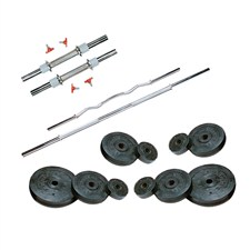 22 Kg Weight Rubber + 2 Pc Dumbbell Rods + 2 Pc Weight Training Rods  (One Curly Rod 3 Feet)