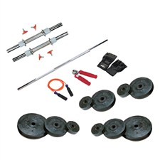 22 Kg Weight Rubber + 2 Pc Dumbbell Rods + 1 Pc Weight Training Rod + 1 Pair Sports Gloves + 1 Pc Power Grip + 1 Pc Skipping Rope