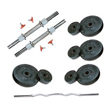 12 Kg Weight Rubber + 2 Pc Dumbbell Rods + 1 Pc Weight Training Rod (Curly Rod 3 Feet)